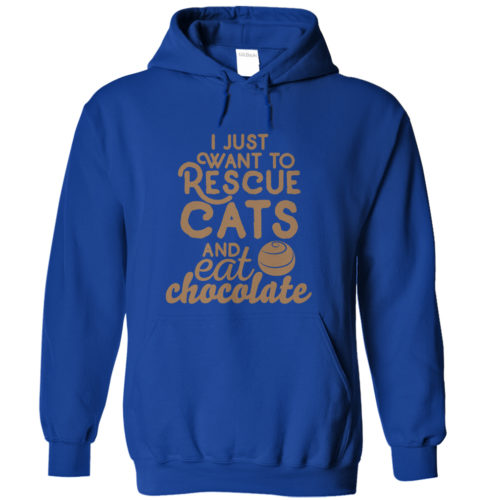 Eat Chocolate & Rescue Cats Hoodie Dark Version