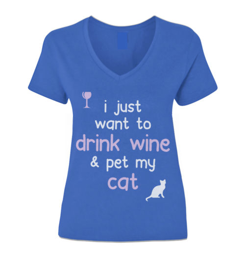 Drink Wine & Pet My Cat V-Neck