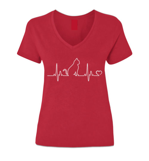 Cat Heartbeat V-Neck