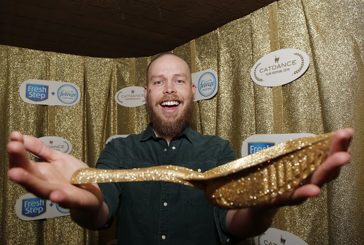 The coveted Gold Litter Scoop was awarded to filmmaker Mike Thompson at the Catdance Film Festival presented by new Fresh Step® with the power of Febreze™ Saturday, Jan. 23, 2016, in Park City, Utah. (Photo by Jack Dempsey/Invision for Fresh Step Litter/AP Images)
