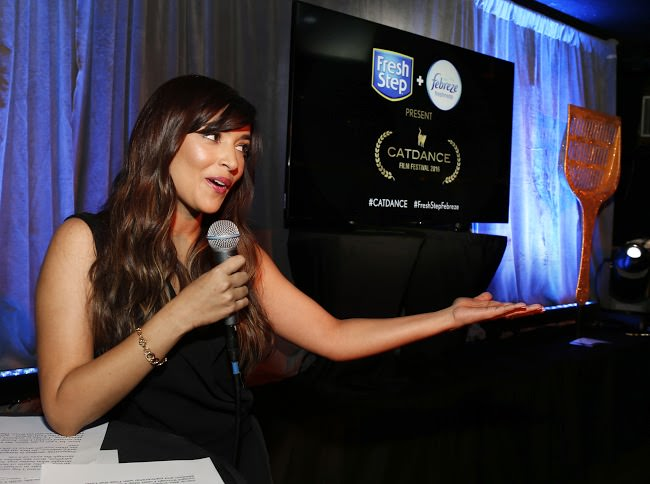 """New Girl"" actress and cat lover Hannah Simone hosts the Catdance Film Festival presented by new Fresh Step® with the power of Febreze™ Saturday, Jan. 23, 2016, in Park City, Utah. (Photo by Jack Dempsey/Invision for Fresh Step Litter/AP Images)"