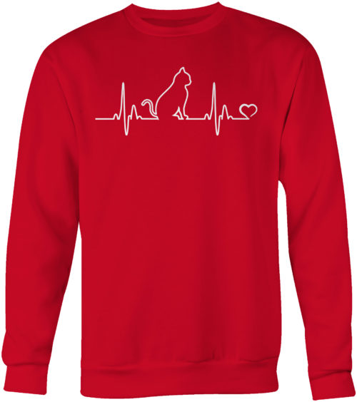 Cat Heartbeat Crew Neck Sweatshirt