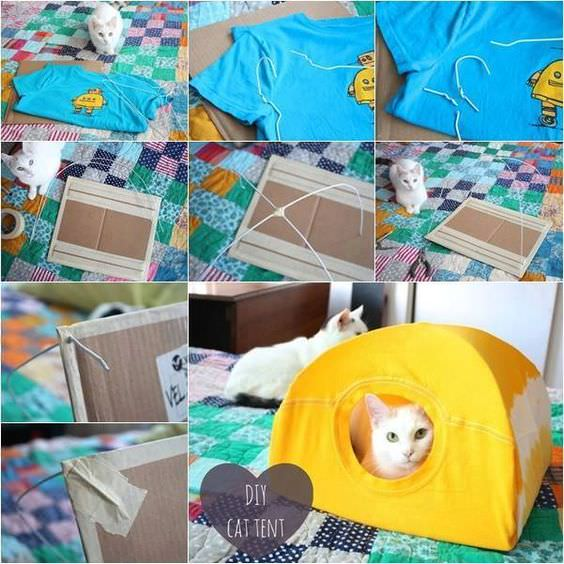 DIY Cat Tent  sc 1 st  iHeartCats.com & Make This Easy DIY Cat Tent With Simple Household Items ...