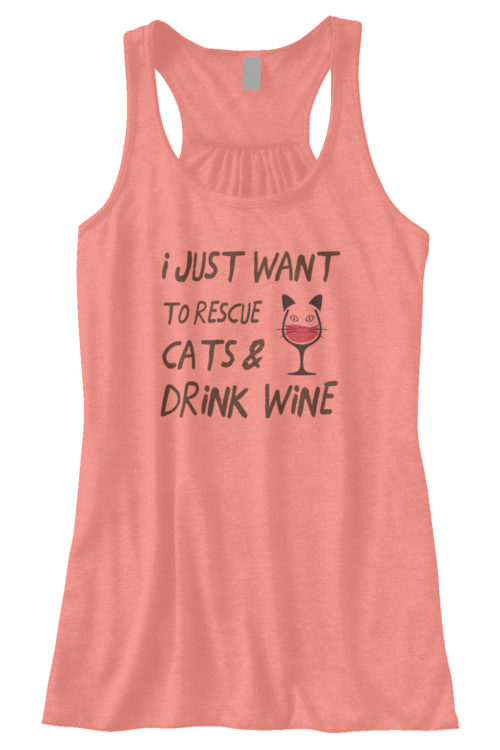 Drink Wine Rescue Cats Bella Fashion Tank