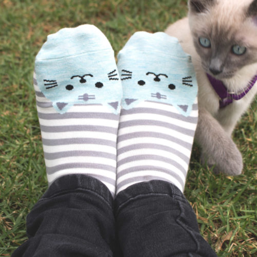 Gray Striped Cat Face Socks