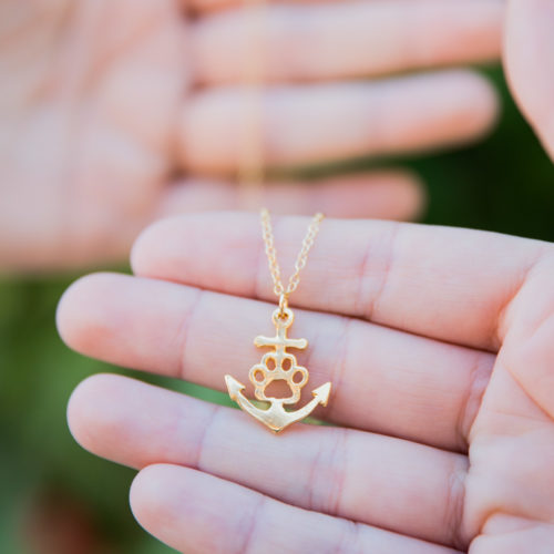 Anchor Paw Gold Necklace