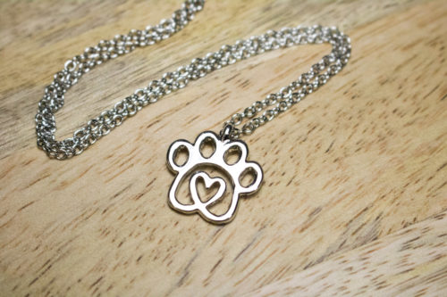 Twisted Heart Paw Silver Necklace