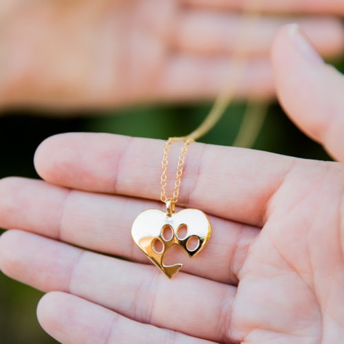 Paw of My Heart Gold Necklace