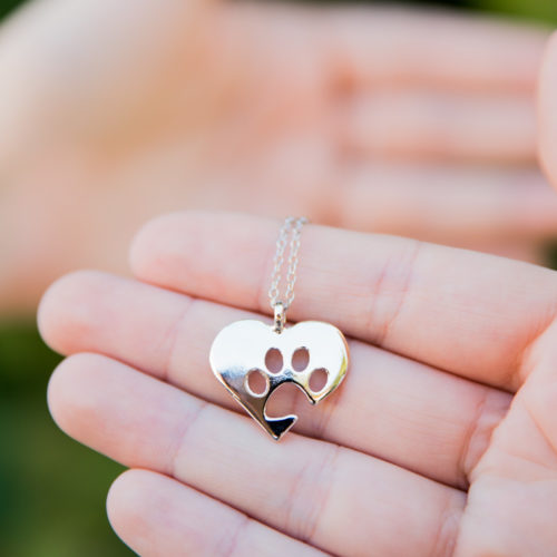 Paw of My Heart Silver Necklace