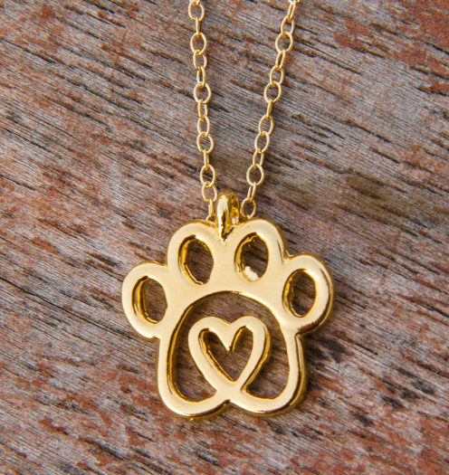 Twisted Heart Paw Gold Necklace