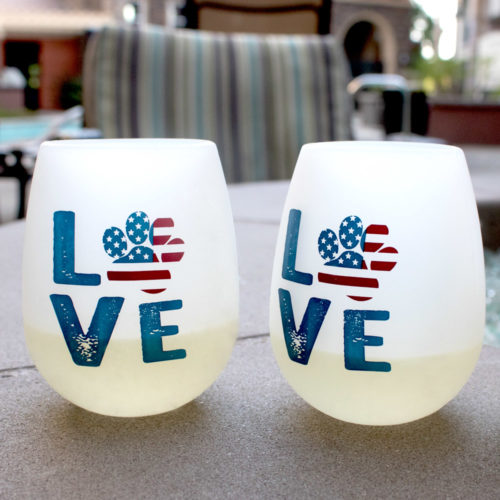 Shatterproof Love Paw USA Silicone Wine Cups (set of 2)