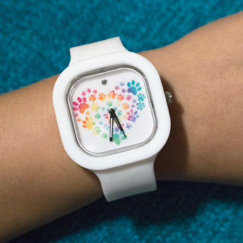 Interchangeable Silicone Watch Heart Paw Tie Dye design with 3 color bands