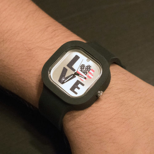 Interchangeable silicone watch Love Paw USA design with 3 color bands