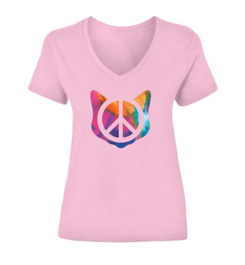 Peace Tie Dye Cat V-Neck