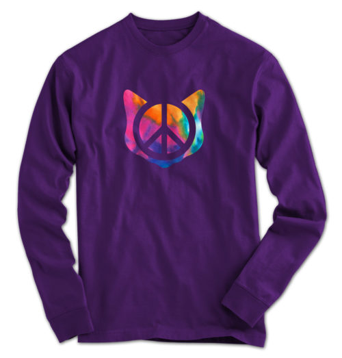 Peace Tie Dye Cat Long Sleeve
