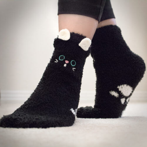 Black Cat Ears Fuzzy Socks