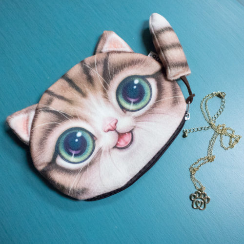 Brown Kitty Clutch Bundle – 1pc Kitty Clutch & 1pc Twisted Heart Paw Gold Necklace