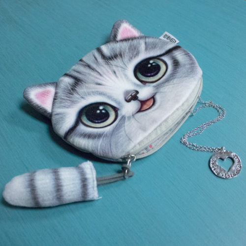 Grey Kitty Clutch Bundle – 1pc Kitty Clutch & 1pc Rescue Love Repeat Necklace