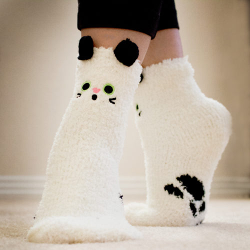 White Cat Ears Fuzzy Socks