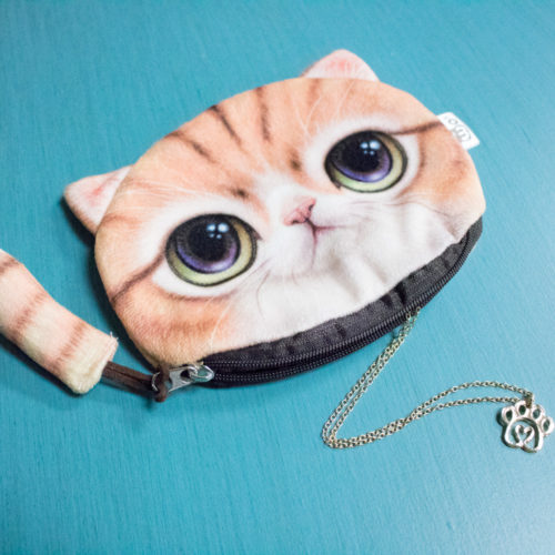 Orange Kitty Clutch Bundle – 1pc Kitty Clutch & 1pc Twisted Heart Paw Gold Necklace