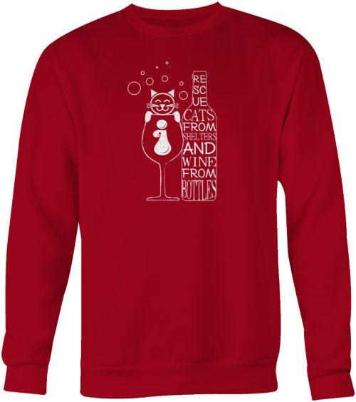 Cats And Wine Crew Neck Sweatshirt