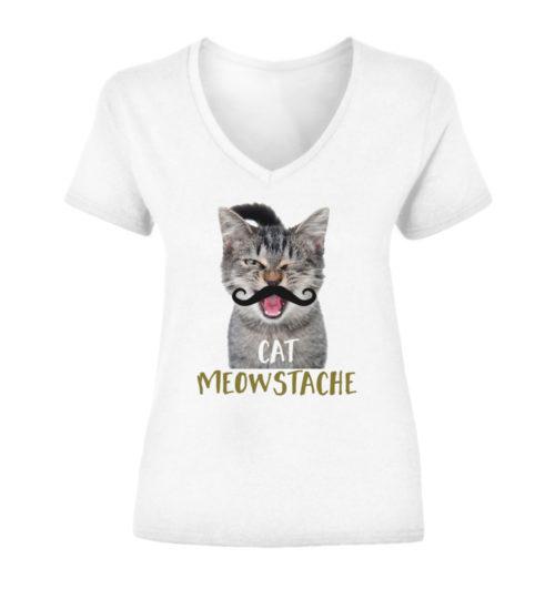 Cat Meowstache V-Neck