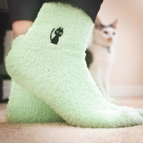 Embroidered Cat Fuzzy Socks