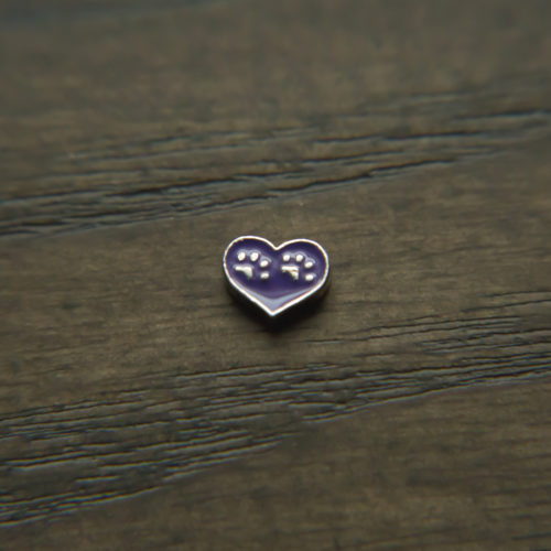 Double Paws Purple Heart Shape Charm for Locket