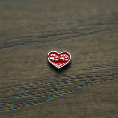 Double Paws Red Heart Shape Charm for Locket