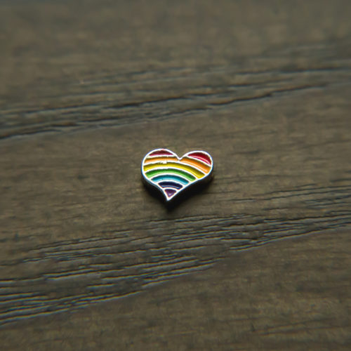 Rainbow Color Heart Shape Charm for Locket