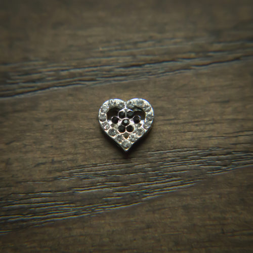Black Paw In The Heart Rhinestone Charm for Locket