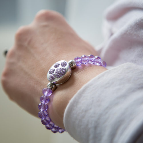 Purple Crystal Bead Snap Bracelet