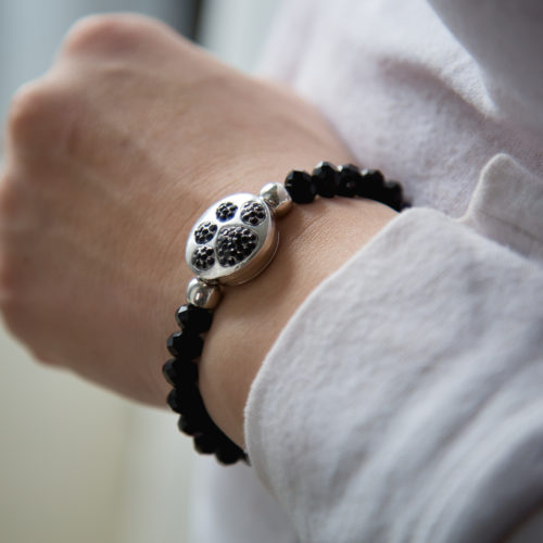 Black Crystal Bead Snap Bracelet