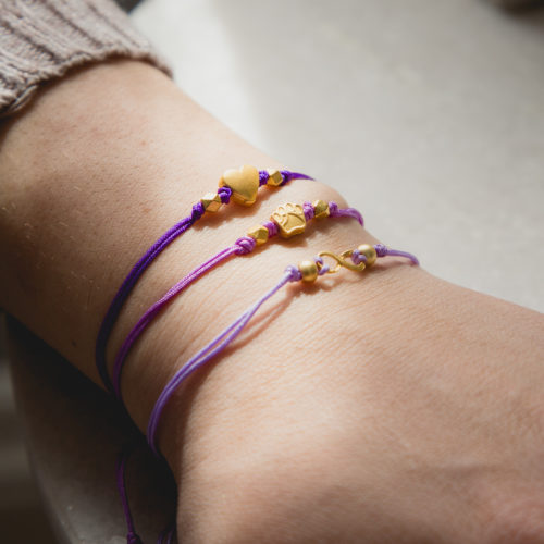 Pet Cancer Purple Combo Stackable Cord Bracelets