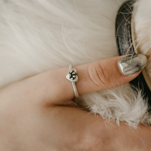 Heart Filled With Paw Adjustable Ring