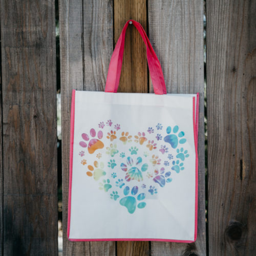 Grocery Bag Heart Paw Tie Dye - Pink Trim