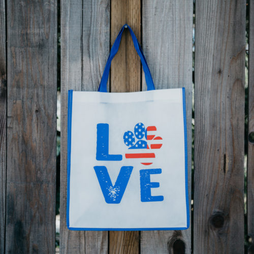 Grocery Bag Love Paw USA - Navy Blue Trim