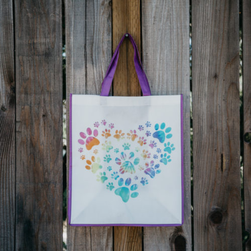 Grocery Bag Heart Paw Tie Dye – Purple Trim