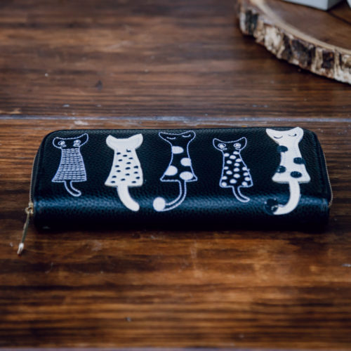 Zip Up Long Wallet With Embroidered Cat Design - Black