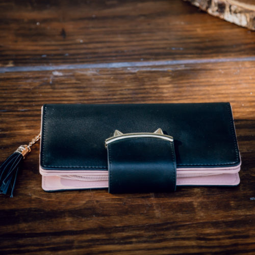Kitty Ears Long Wallet - Black