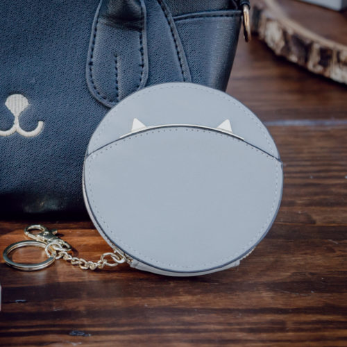 Kitty Ears Round Wallet- Grey