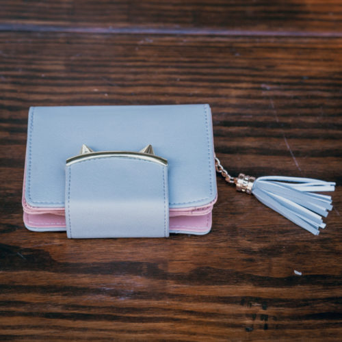 Two Tone Wallet With Tassel - Grey