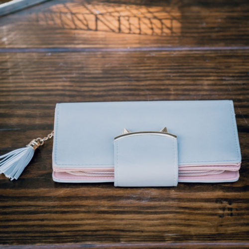 Two Tone Long Wallet With Tassel - Grey