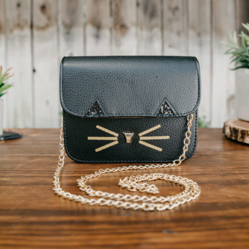 Square Cat Bag With Gold Chain