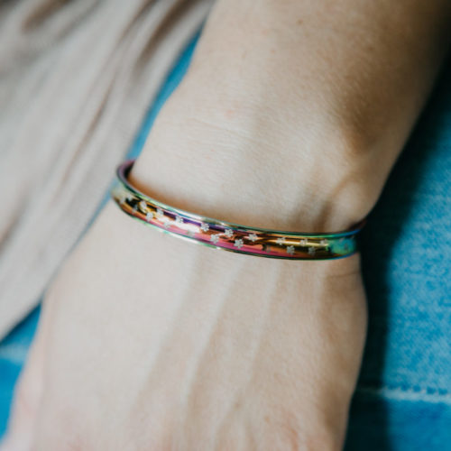 Rainbow Bridge Memorial Adjustable Bangle Bracelet