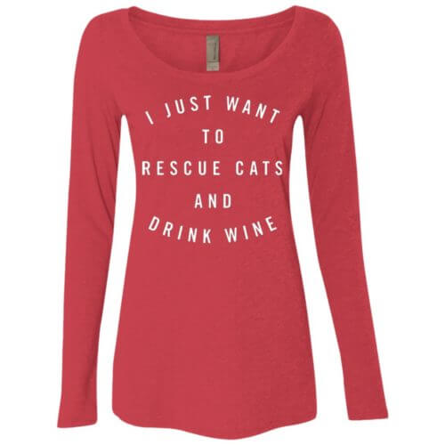 Rescue Cats & Drink Wine Statement Fitted Scoop Neck Long Sleeve