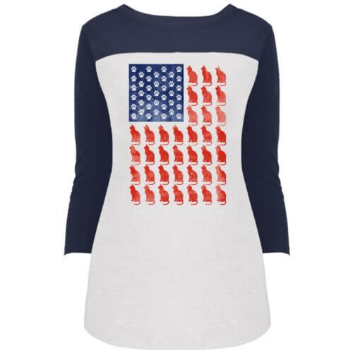 Red Cat Blue Paw Rally 3/4 Sleeve Shirt