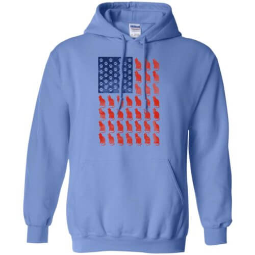 Red Cat Blue Paw Pullover Hoodie