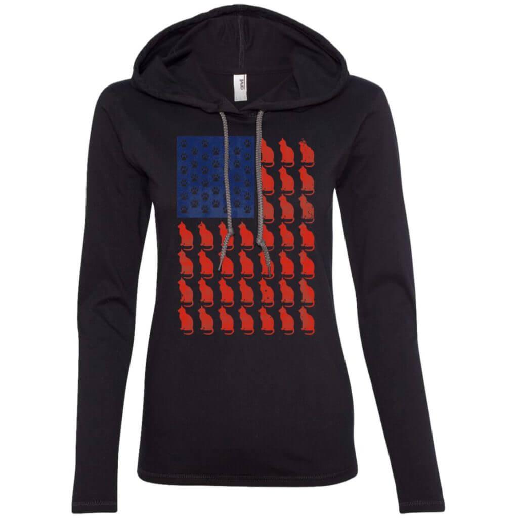 Red Cat Blue Paw Ladies' Lightweight T-Shirt Hoodie