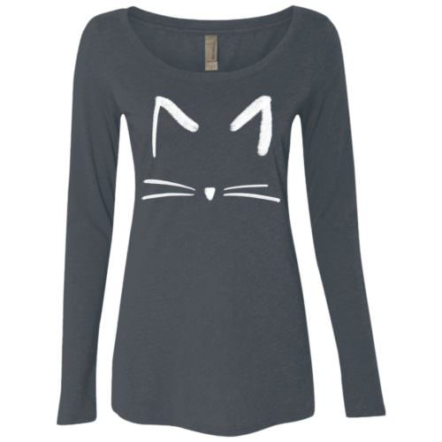 Cat Sketch Ladies' Scoop Neck Long Sleeve Shirt